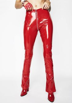Matte Siren PVC Pants cuz you got the smoke alarms goin' off. These shiny redk pants have a mid-rise fit, slightly flared legs, and a front to back zipper closure.