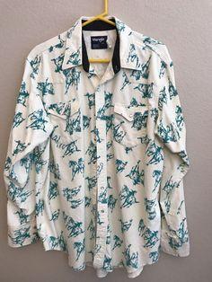 c1abe7e017550 Wrangler Mens 18 36 Shirt Horse Print Flannel Cowboy Western Snaps X-Long  Tails