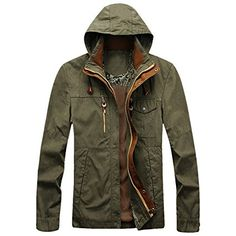 Cozy Age Mens Rugged Cotton Front-zip Hooded Jacket,Chinese L,Army Green