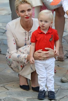Royal Family Around the World: Prince Albert II and Princess Charlene of Monaco Attends the Monegasque throne during the traditional Monaco's picnic, on September 10, 2015 at Monaco.