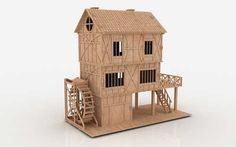 3d Puzzle Tudor Mill House Dollhouse Cnc Router Pattern Laser Plan Dxf Woodtoy