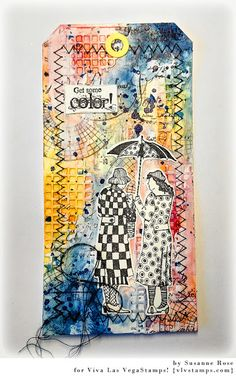 Susanne Rose Designs: Get Some Color - Mixed Media Tag with Viva Las VegaStamps, Brushos and dies from Memory Box. Colourful Art Journal Play with Rubber Stamps. Sewing is fun