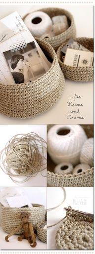 crochet storage baskets from packing twine #diy #crafts www.BlueRainbowDesign.com