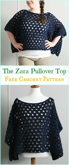 Crochet The Zara Pullover Top Free Pattern - Crochet Women Sweater Pullover Top Free Patterns