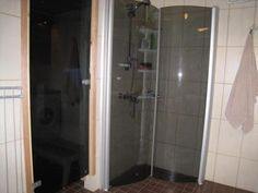 This is the corner for the shower, compact and handy. The doors fold in completely to save space when not in use. Space Saving, Compact, Bathtub, Corner, Doors, Shower, Bathroom, Standing Bath, Rain Shower Heads