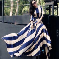 NEW WOMEN STRIPED FULL SWEEP CHIFFON MAXI DRESS WRAP SHEER LONG GOWN CRUISE L #Handmade #BallGown #Clubwear