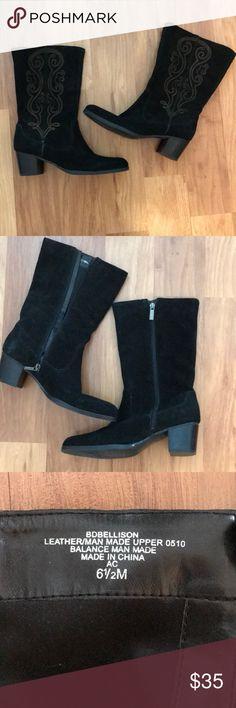 Bandolino Black suede boots. Bandolino Black suede boots. Calf length. Bandolino Shoes Heeled Boots