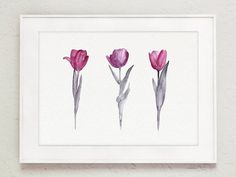 Purple Tulips Painting. Abstract Tulip Watercolor Floral Garden Wall Decor. Pink and Grey Print Flower Kitchen Poster. Tulip Mothers Day Gift Idea.  Type of paper: Prints up to (42x29,7cm) 11x16 inch size are printed on Archival Acid Free 270g/m2 White Watercolor Fine Art Paper and retains the look of original painting. Larger prints are printed on 200g/m2 White Semi-Glossy Poster Paper.  Colors: Archival high-quality 10-cartridge Canon Lucia Pigment Inks with a droplet size of 4.0...