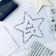 Handlettering kaart Ik denk aan je • Made by Lin