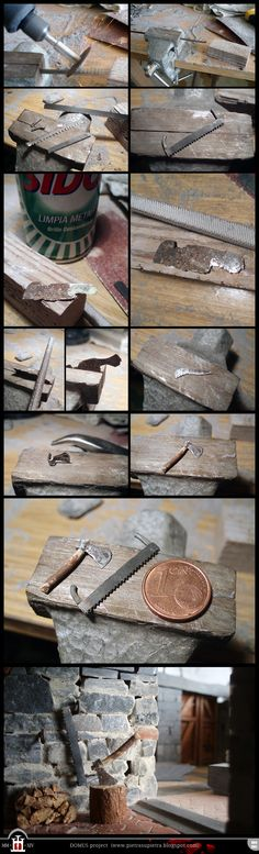 Domus project 84-85: Miniature axe and saw - The Domus project is the construction in scale 1:50 of an imaginary medieval palace. It's made of clay, stones, slate, wood and other construction materials in the style of rich genoese buildings from the middle of XIV century.