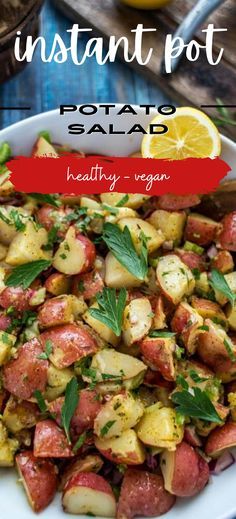 This Instant Pot Potato Salad is light and delicious. With a lemony olive oil based dressing, the bright flavors are nothing like the heavy potato salads you are used to. One bite and you will fall in love. Potato Dishes, Potato Recipes, Chicken Recipes, Instant Pot Red Potatoes, Pressure Cooker Potatoes, Pressure Cooking Recipes, Fries In The Oven, Cooker Recipes, Olive Oil