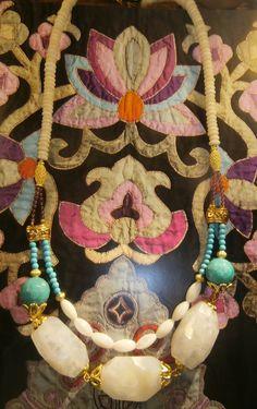 """collier """"Harmonie"""" Boho chic,pierres semi-précieuses,plaqué or ,inspiration indienne : Collier par by-fabie"""