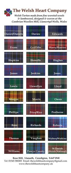Welsh Tartan Find You Surname Tartan! - Gaelic Baby Names - Ideas of Gaelic Baby Names - You can buy your Welsh Surname Tartan Heart here. My mother's maiden name and my father's surname are on this. Learn Welsh, Welsh Language, Cymru, Surnames, Ancestry, Family History, Finding Yourself, Welsh Sayings, Welsh Names