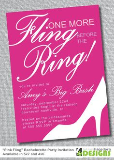Last Fling Before the Ring - Bachelorette Party Invitation
