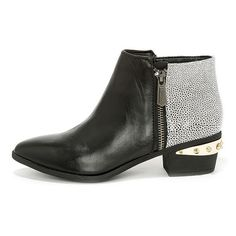abedefc3058 Circus by Sam Edelman Holt Black and White Leather Ankle Boots (120 CAD) ❤  liked on Polyvore featuring shoes