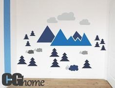 MOUNTAIN view for kids HUGE colorful wall decal CGhome by CGhome