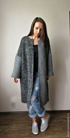 """Купить Пальто """"Ishii"""" - серый, пальто, пальто женское, кардиган вязаный, пальто вязаное, кофта"""