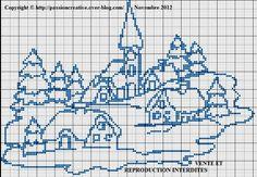 Grille gratuite point de croix : Village de Noel monochrome bleu Xmas Cross Stitch, Cross Stitch Pillow, Cross Stitch Charts, Cross Stitch Designs, Cross Stitching, Blackwork Embroidery, Cross Stitch Embroidery, Cross Stitch Tutorial, Cross Stitch Landscape
