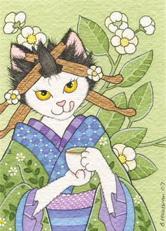 Ocha by B. Mousseau, 2008. #Japanese #art #cute #cats