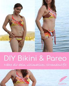 DIY Pareo & Bikini nähen, dein ultimatives Strandoutfit für den perfekten Badetag! Wie du dir selber einen Pareo & Bikini nähen kannst, erfährst du hier -  inkl. Freebook für den Pareo!