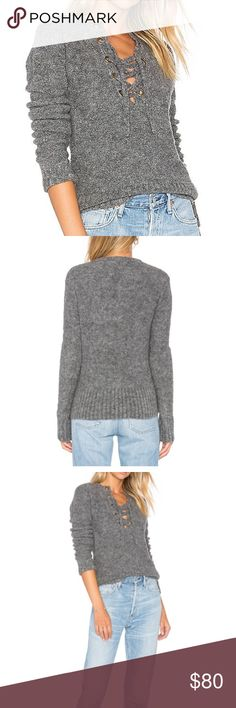 Lovers + Friends x REVOLVE Rocky Sweater in Stone Worn once for a shoot. 48% acrylic, 32% wool, 20% nylon. Front lace up tie closure. Ribbed trim Lovers + Friends Sweaters