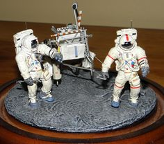 Apollo 14 diorama - Modified 1/32 scale EVA Models figures and scratch built MET (modular equipment trailer).