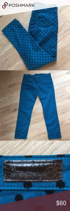 AG The Stevie Ankle Straight Cords The Stevie Ankle Slim Straight. Teal with black polka dot fine wale cords by Adriano Goldschmied. Would be super cute paired with a feminine white top and a black blazer. Size 31 R. Ag Adriano Goldschmied Pants Straight Leg