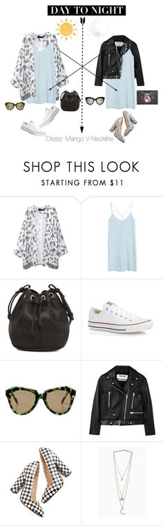 """How to wear: Day to night dress"" by zowealice ❤ liked on Polyvore featuring MANGO, Converse, Monki, Acne Studios and Givenchy"