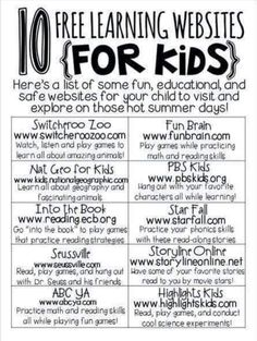 10 free learning websites for kids educational websites for kids, learning sites, fun learning Educational Websites For Kids, Learning Sites, Home Learning, Preschool Learning, Learning Resources, Teaching Kids, Fun Learning, Educational Crafts, Kids Websites