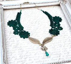 Hunter Green Lace Necklace in Antique Bronze