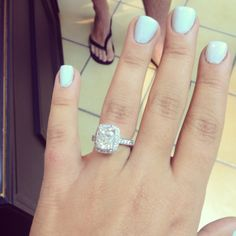 My amazing cushion cut halo engagement ring, can't wait to get my wedding band!!