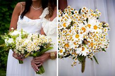 yellow and white bouquet of daisies, chamomile and wild grasses | vintage bohemian chic wedding