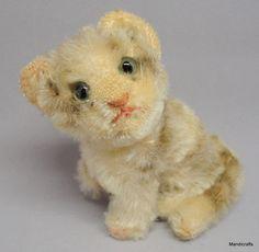 #Steiff Susi #Tabby Mohair Plush Cat Sitting 10cm 4in 1960s Glass Eyes Vtg no ID