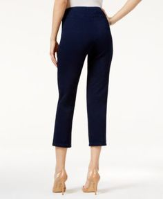 Style & Co Petite Pull-On Cropped Pants, Only At Macy's - White P/XS