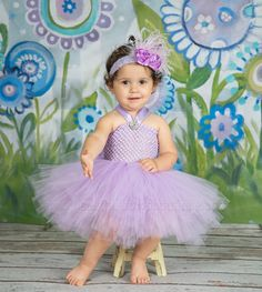 As fluffy as spun cotton candy, this solid lavender girl's tutu dress proves that the best things really do come in small packages! Designed in fine artisan detail, swathes. Baby Tutu Dresses, Baby Girl Tutu, Baby Dress, Flower Girl Dresses, Baby Skirt, Diy Tutu, Tulle Tutu, Purple One Piece, Mini Skirt Dress