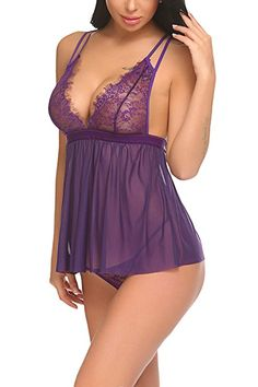 ADOME Women Lingerie V Neck Lace Babydoll Mesh Chemise Sexy Sleepwear  Purple XX-Large at Amazon Women s Clothing store  b54ba42a2