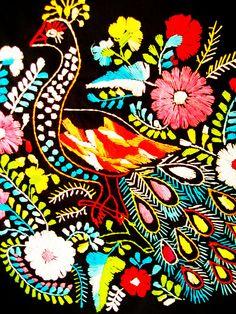 Peacock embroidery handmade bordado Mexicano