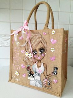 Beautiful, sparkly hand painted Jute Bags - The Pretty Bag Company