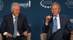 Former Presidents Bill Clinton and George W. Bush's relationship was on full display on Monday as the two joked, praised and laughed with each other.  : )