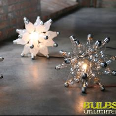 Recycled Light Bulbs Sculptures Bizarre connections, reused dead bulb with the purpose for bringing to life some for an out of this world decorations