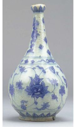 A Safavid blue and white pear-shaped pottery vase, Iran, 17th century