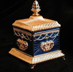Royal Blue Music and Jewel #antique #vintage #box
