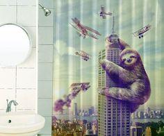 Slothzilla Shower Curtain | DudeIWantThat.com
