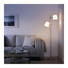 IKEA - SVIRVEL, Floor lamp with 2 shades, , You can easily aim the light where you need it because the lamp head is adjustable. For instance, you can direct the light on the book you are reading, use it as an uplight or aim it to focus on a specific area in the room.