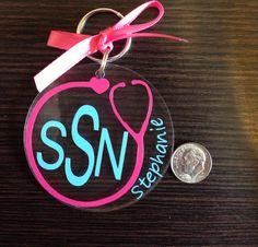 Acrylic keychain #nursing #cricut #cricutexplore #vinylprojects