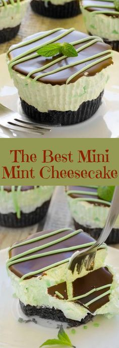 new dessert recipes, cream cheese dessert recipe, healthy desserts recipes - The Best Mini Mint Cheesecake – so easy to make, creamy and cute! Absolutely delicious, The Best Mini Mint Cheesecake with an Oreo crust and only a few ingredients! Mini Desserts, No Bake Desserts, Just Desserts, Delicious Desserts, Yummy Food, Layered Desserts, Hawaiian Desserts, Mini Dessert Recipes, Mexican Desserts