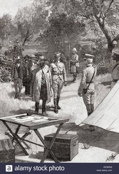 Stock Photo - The surrender of General Cronje after the Battle of Paardeberg or Perdeberg, South Africa, 27 February 1900 during the Second Boer War. African History, Historical Photos, Royalty Free Images, South Africa, Battle, Stock Photos, Illustration, Painting, Warriors