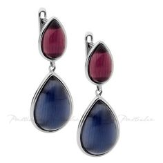 Pastiche Double Drop Earrings in Stainless Steel with Amethyst and... (£62) ❤ liked on Polyvore featuring jewelry, earrings, women's accessories, navy jewelry, navy blue earrings, drop earrings, navy blue jewelry and stainless steel jewellery