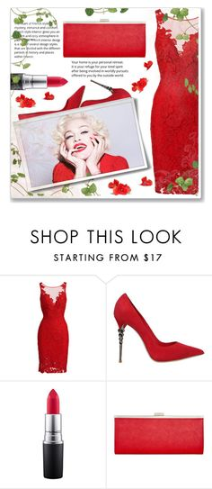 """""""Madonna"""" by selangel ❤ liked on Polyvore featuring ML Monique Lhuillier, Le Silla, MAC Cosmetics and Style & Co."""