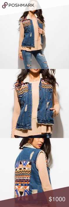 """~DENIM ETHNIC PRINT COLOR  FAUX FUR JEAN VEST~ ~A high quality fitted denim vest top with distressed details with an ethnic print on both the front and back!~  ~With Sherpa wool, snap buttons, and pockets!~  ~Pair with denim pants for the perfect denim-on-denim look!~  ~100% Cotton~  ~Model is 5'9""""  ~Chest is 32 C  ~Modeling a size small~  Please feel free to ask any questions you may have~  Reserving in the comment section below~xoxo Jackets & Coats Vests"""